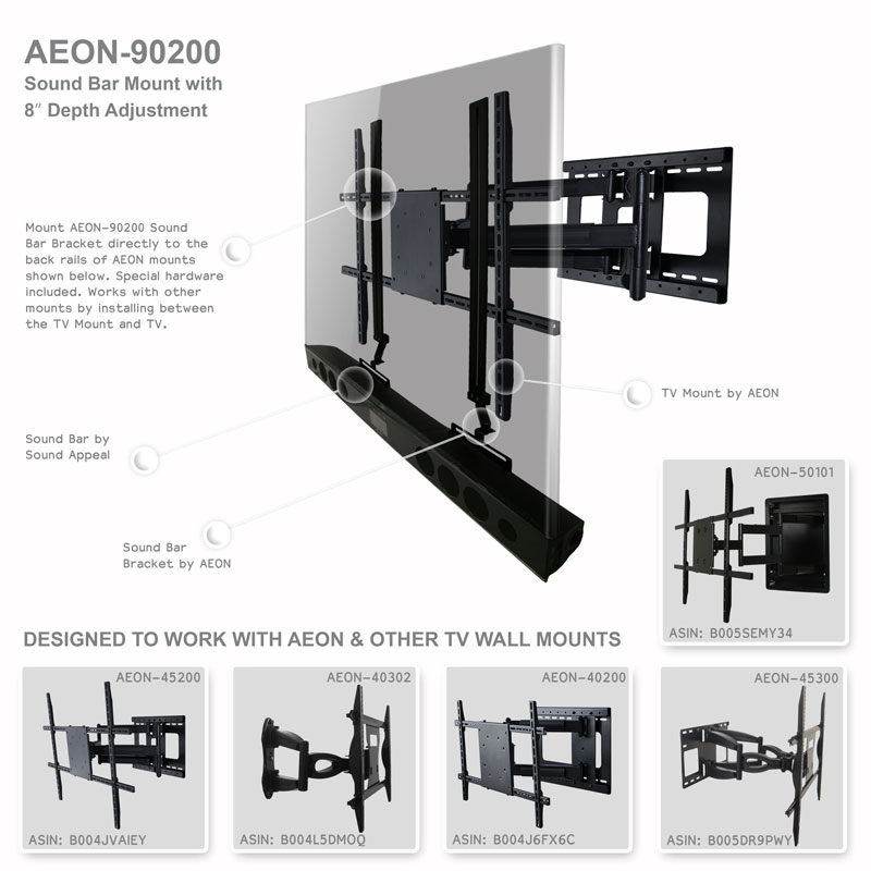 soundbar wall mount universal bracket with depth adjustment and free shipping. Black Bedroom Furniture Sets. Home Design Ideas