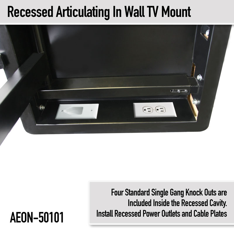 In Wall TV Mount, Recessed Articulating In Wall TV Mount for 42 to 80 Inch  TVs LCD, LED, or Plasma