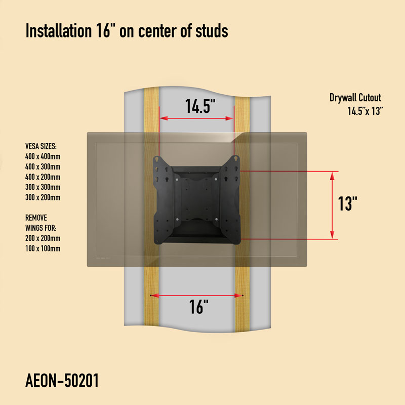Recessed In Wall Full Motion Tv Mount Detailed Description