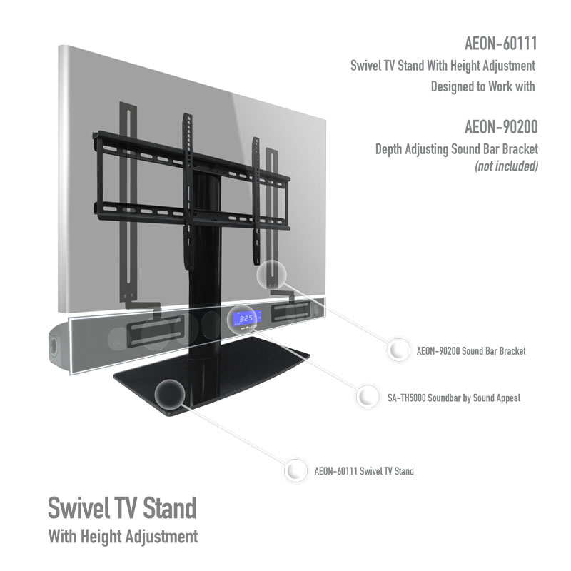 Universal Tv Stand Kit With Depth Adjusting Soundbar Mount