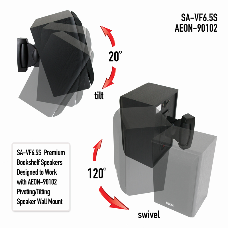 Pivoting Tilting Speaker Wall Mount Pair