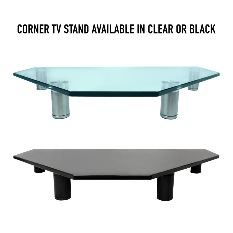 Glass Corner Tv Stand Available In Clear Or Black