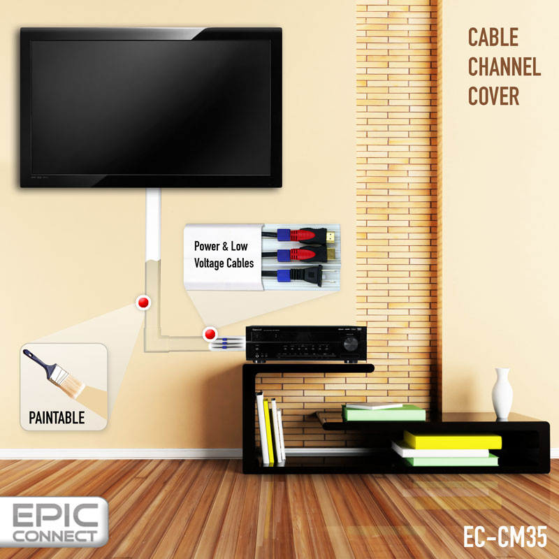 TV Cable Management Organizer Raceway Wire Cover for A/V and Power ...