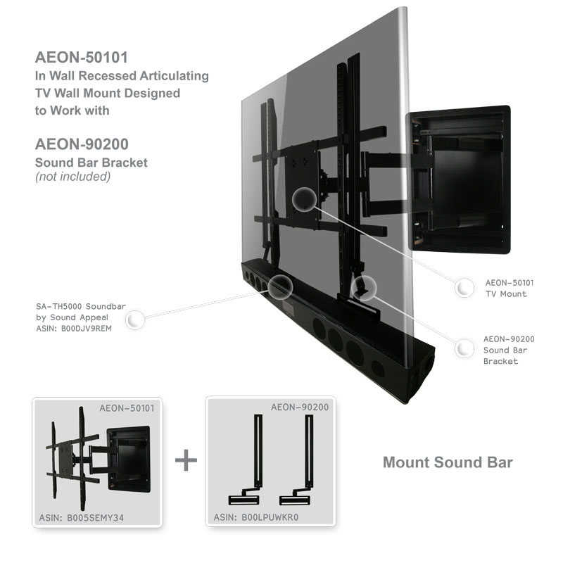 In Wall Tv Mount Recessed Articulating For 42 To 80 Inch Tvs Lcd Led Or Plasma