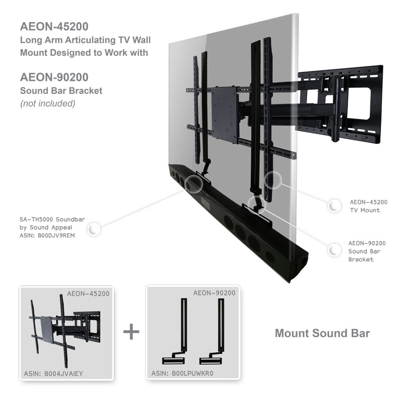 Soundbar Wall Mount Universal Bracket With Depth