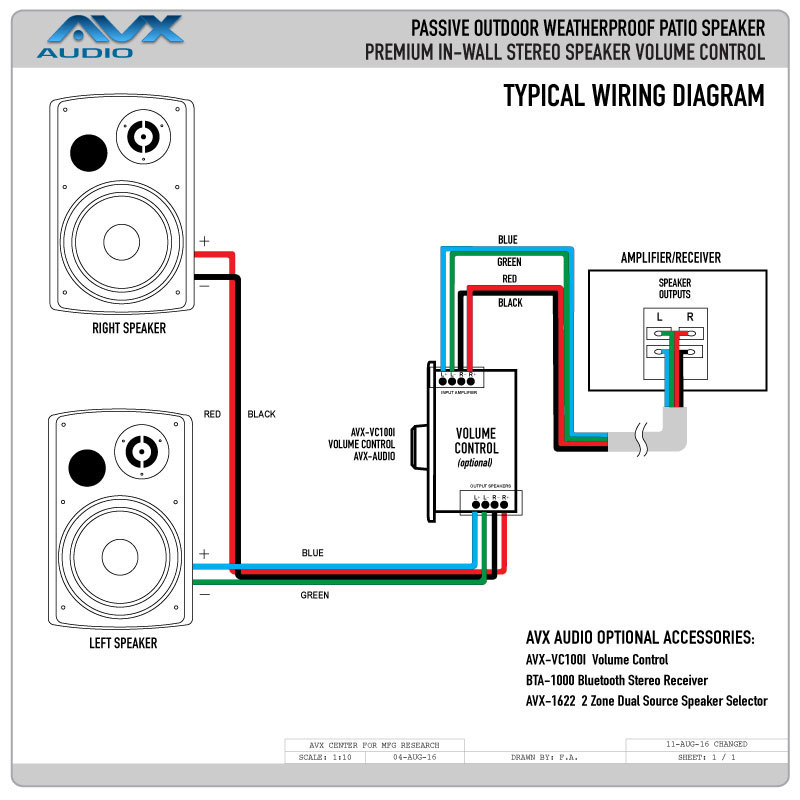in wall speaker volume control wiring diagram white weatherproof outdoor speaker for patio with 6.5 ...