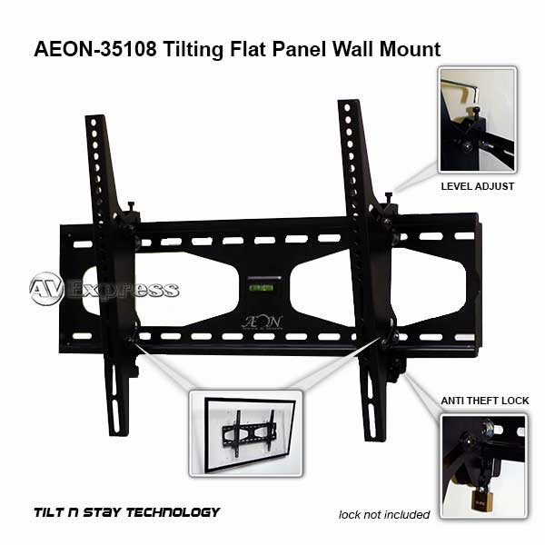 tilting tv mount 32 to 60 inch tv with level adjust and security lock aeon 35108. Black Bedroom Furniture Sets. Home Design Ideas